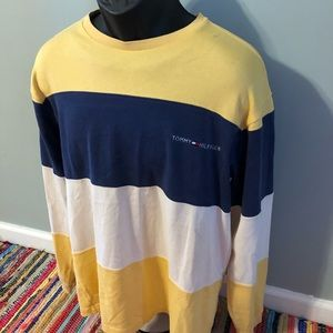 90s Tommy Hilfiger Striped Colorblock Shirt Large